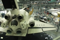 Rear view of Buran OK-GLI used for the soviet space shuttles Approach and Landing tests much like NASAs Enterprise on display at the Technikmuseum Speyer Germany
