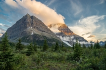 Rearguard protecting Mt Robson the highest peak in the Canadian Rockies