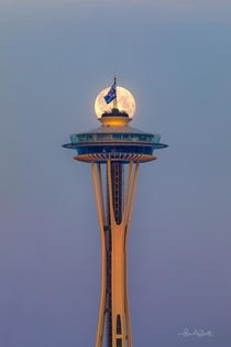 Recent super moon alignment with Space Needle Seattle WA USA