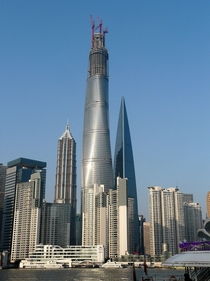 Recent view of Shanghai Tower Shanghai World Financial Center and Jin Mao Tower from across the river