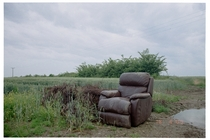 Recliner chair found abandoned off country lane in Essex UK