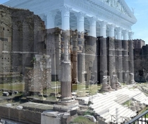 Reconstruction superimposed on the ruins of the Temple of Mars Avenger Rome