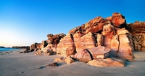 Red Cliffs of Cape Leveque Western Australia lit by early evening light