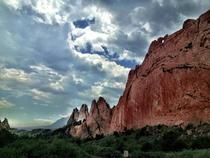 Red rock formations at Garden of the Gods Park in Colorado Springs CO
