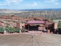 Red Rocks Amphitheatre with Denver in the far background