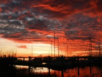 Red Sky At Night yesterday at northeast FL harbor
