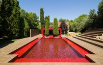 Red-Tiled pool in Mont-ras Spain by Ricardo Bofill