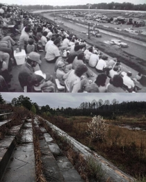 Redditor creates then and now photo of abandoned Metrolina Speedway near Charlotte NC