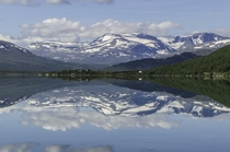 Reflection in Nedre Sjodalsvatnet Jotunheimen National Park Norway during a roadtrip a couple of years ago