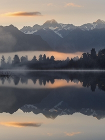 Reflection of Mount Cook in New Zealand
