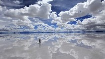 Reflection of the sky on Salar de Uyuni the largest mirror in the world after it has rained
