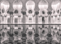 Reflections in Black and White - Grand Mosque in Abu Dhabi UAE by Julian John