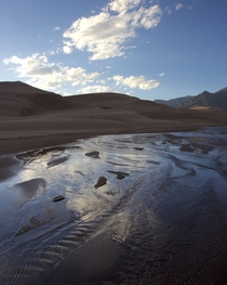 Reflections in the braided stream at Great Sand Dunes CO