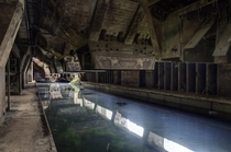 Reflections in the pools below the abandoned Terres-Rouges steel mill in Luxembourg  Photographed by MDE