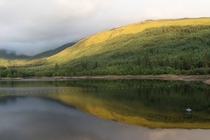 Reflections on Gleann Dubh reservoir Scotland last night