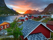 Reine Sunset Lofoten Islands Norway