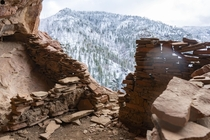 Remains of a cliff dwelling on a remote Arizona mountain