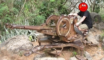 Remains of a Russian ZU- Anti Aircraft gun on Mount Phousi Luang Prabang Laos