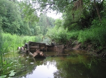 Remains of a Soviet KV- Heavy Tank hull in the Vorya River Moscow Oblast