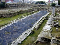 Remains of Roman road in the town of Tarsus Turkey