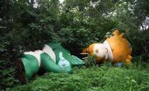 Remember the Fuwa the mascots of the  Beijing Olympics Heres two of them discarded at a venue