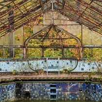 Remnants of a mansion swimming pool in Indiana