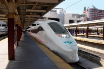 Rendering of future Amtrak high speed train at Bostons South Station