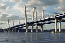 Rendering of new Tappan Zee bridge crossing the Hudson in New York