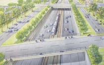 Rendering of proposal to turn Philadelphias Roosevelt Boulevard into an expressway
