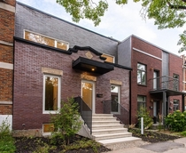 Renovated terraced house with main faade preserved to maintain heritage Montral Canada by Fugere Architecture Photo Felix Audette