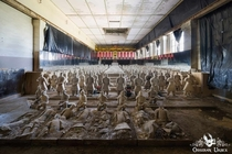 Replica Terracotta Army in derelict power plant turbine hall Germany