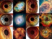 Resemblances between galaxiesnebulas and human eyes