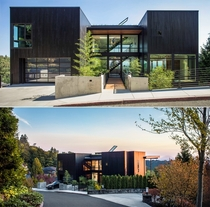 Residence clad in charred wood on a steep lot with views towards Mt St Helens and Mt Rainier Portland Oregon by Scott Edwards Architecture Photo Pete Eckert