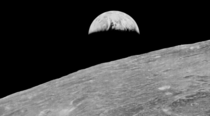 Restored image of Earthrise from Lunar Orbiter