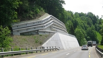 Retaining wall beauty in canton Uri Switzerland