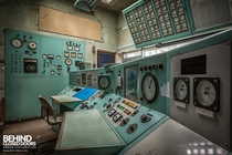 Retro control desk at an abandoned wind tunnel facility in the UK