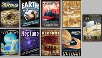 Retro Futuristic Planet Series Posters