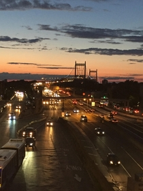 RFK Triboro Bridge from a subway platform in Astoria Queens NYC x