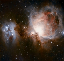 RGB image of the great Orion and Running man nebulae with a  inch sct