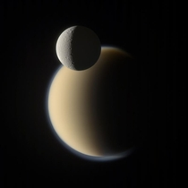 Rhea and Titan together taken by Cassini on December   processed by Gordan Ugarkovic