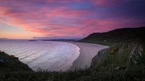 Rhossili Bay Wales sunset