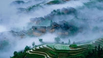 Rice terraces in Longsheng county Guilin China Between -m above sea level the terraced fields were mostly built about  years ago