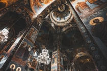 Richly decorated ceiling in the interior of Kazan Cathedral Saint Petersburg Russia