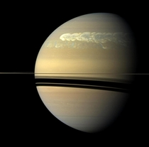 Right now theres a giant storm on saturn its so big that it changed the planets heartbeat