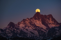 Rise of the super moon behind the Schreckhorn - the northernmost four-thousand-metre peak in Europe