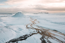 River braids flowing from Maelifell winter in the Icelandic Highlands