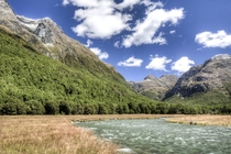 River Grassland Forest and Mountains of the Caples Valley Fiordland National Park