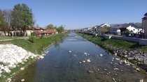 River through small Bavarian town with Alps in the background