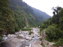 River through the beautiful valley in Dharamshala Himachal Pradesh India