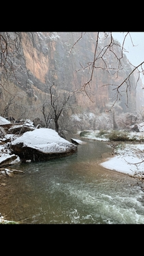 Riverside Walk at Zion National Park Utah Such a beautiful place the snow just made it that much better